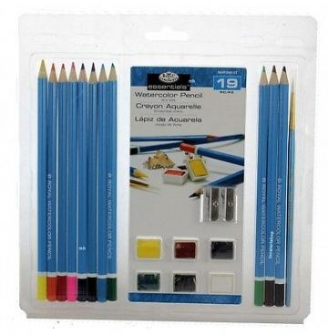 ARTISTS 19 PIECE WATERCOLOUR PENCIL ART SET BY ROYAL & LANGNICKEL
